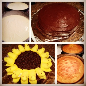 Sunflower Peep Easter Cake
