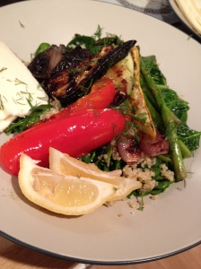 Grilled Vegetables with barley salad and fresh mozzarella