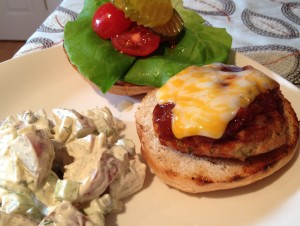 Pale Ale BBQ Chicken Burgers with homemade potato salad