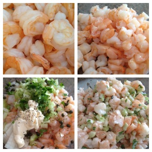 Step-by-step shrimp salad rolls