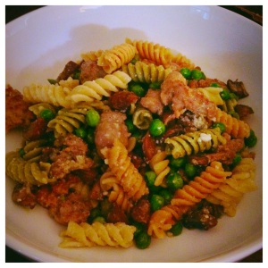 Farfalle with Turkey Sausage and Peas