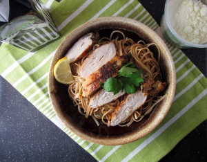 I served with grilled chicken and my favorite EVOO side-kick and Locatelli parmesan cheese!