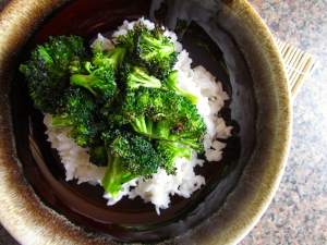 Roasted broccoli with coconut rice