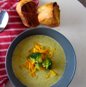 Roasted Broccoli and Cheddar Soup with crusty, crunchy, toasty bread!