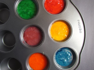 Colors of the rainbow, with only two ingredients and totally baby safe!