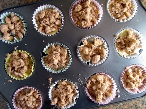 A small amount of cinnamon crumb topping is all you need to sweeten up these muffins!