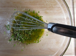 A vinaigrette like dressing for your warm pasta dish