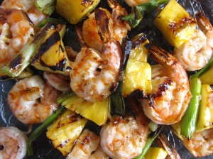 Orange Ginger Pineapple and Shrimp Kabobs