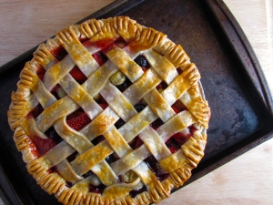 Strawberry, Blueberry, Gooseberry Lattice Pie