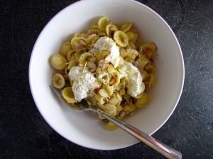 Orcheitte with olives, almonds, and ricotta